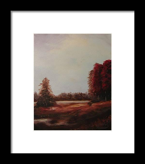 Original Acrylic Landscape Framed Print featuring the painting Autumn Splender by Sharon Steinhaus