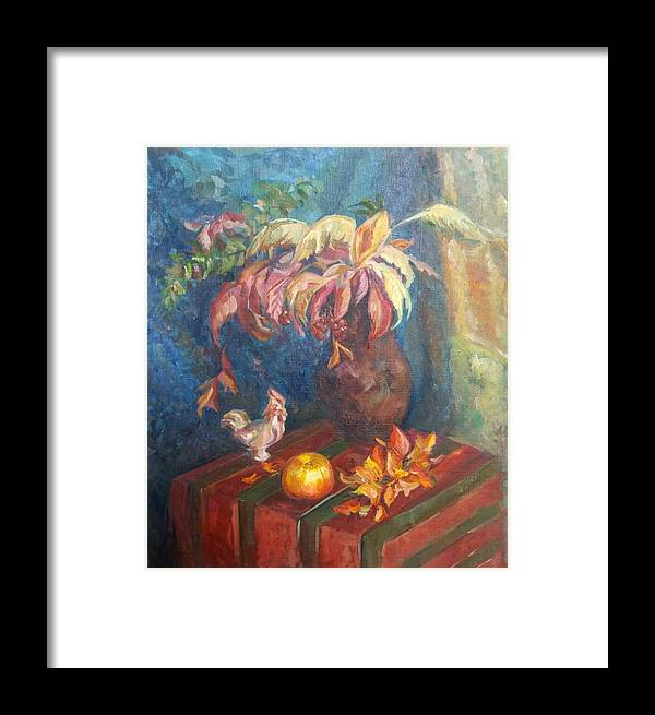Autumn Framed Print featuring the painting Autumn Still Life by Kateryna Kostiuk-Shostka