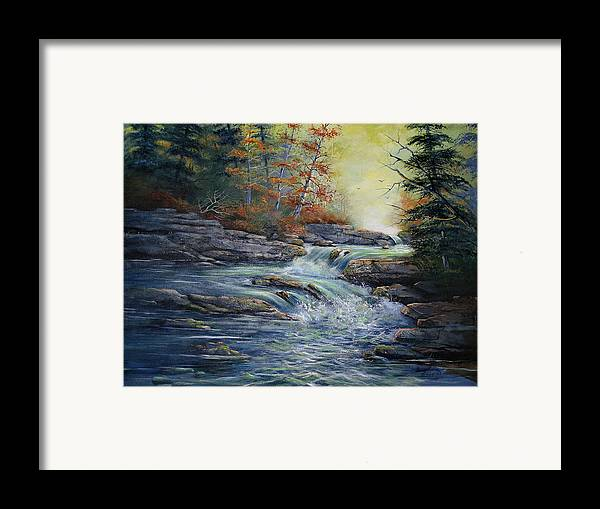 Landscape Framed Print featuring the painting Autumn Stream by Brooke Lyman
