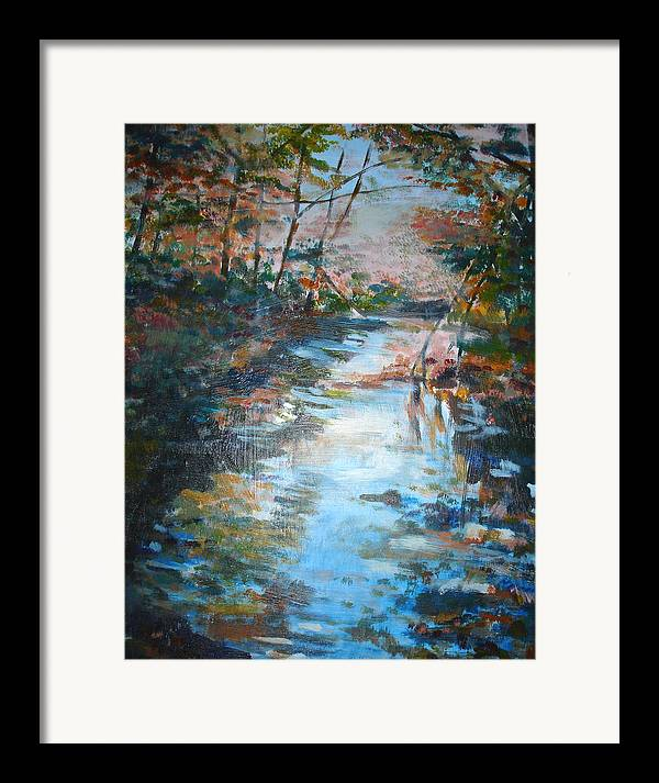 Landscape Framed Print featuring the painting Autumn Stream by Joyce Kanyuk