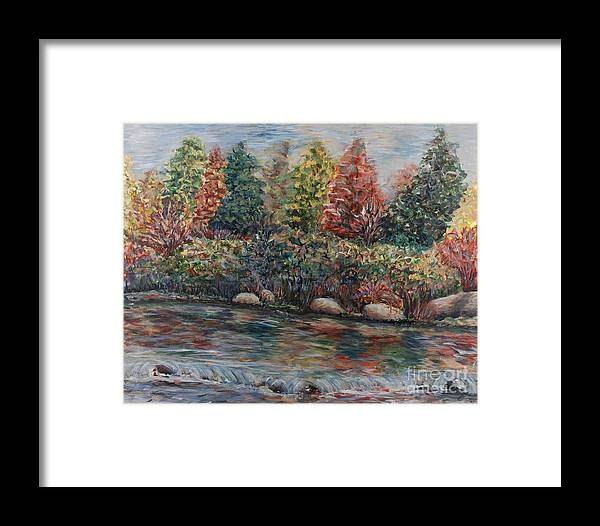 Autumn Framed Print featuring the painting Autumn Stream by Nadine Rippelmeyer