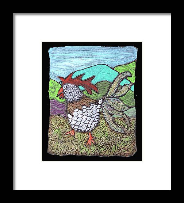 Chicken Framed Print featuring the painting Autumn Strut by Wayne Potrafka