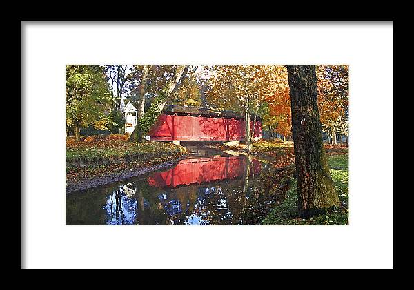 Covered Bridge Framed Print featuring the photograph Autumn Sunrise Bridge by Margie Wildblood