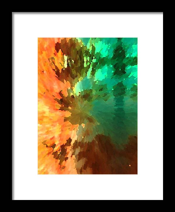 Abstract Framed Print featuring the painting Autumn Surprise by Florene Welebny