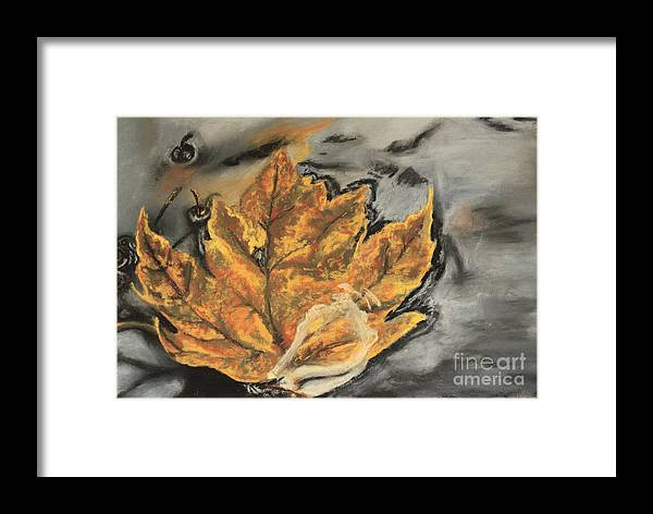 Leaf Framed Print featuring the pastel Autumn by Tina Turner