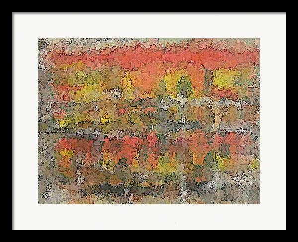 Expressionism Framed Print featuring the painting Autumn Trees In New England by Don Phillips