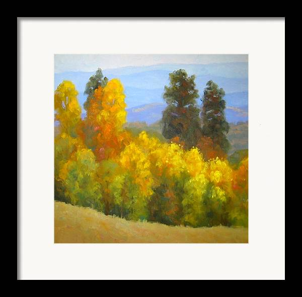 Autumn Framed Print featuring the painting Autumn Vista by Bunny Oliver