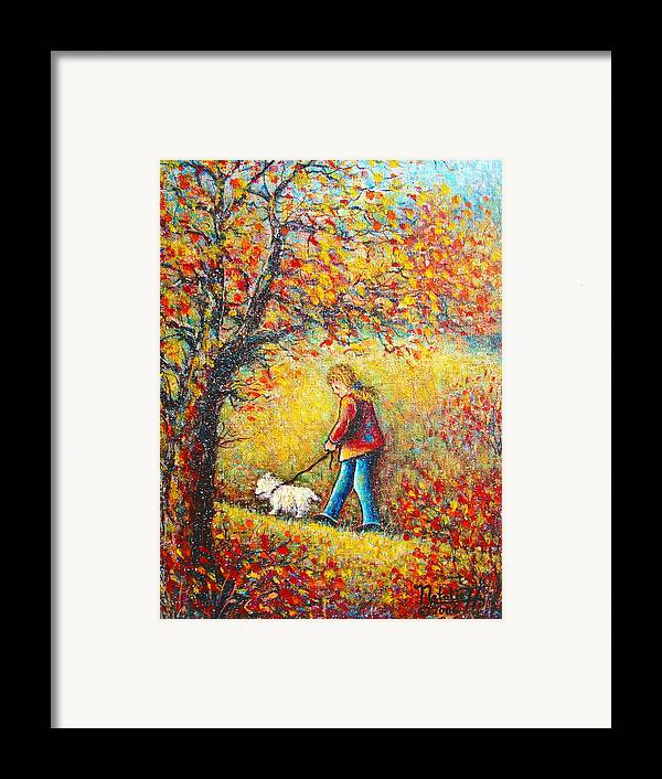 Landscape Framed Print featuring the painting Autumn Walk by Natalie Holland