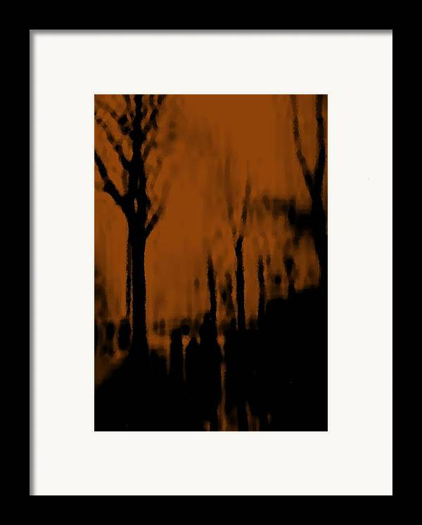 Trees.street.rain.clouds.wet People.the Naked Branches Of The Trees.the Gloomy Light. Framed Print featuring the digital art Autumn Wet Day by Dr Loifer Vladimir