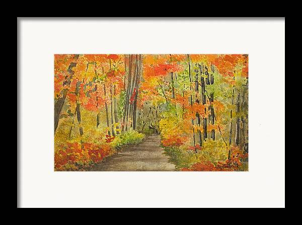 Autumn Framed Print featuring the painting Autumn Woods by Ally Benbrook
