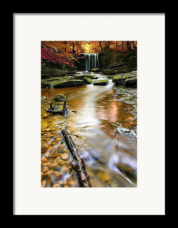 Autumn Framed Print featuring the photograph Autumnal Waterfall by Meirion Matthias