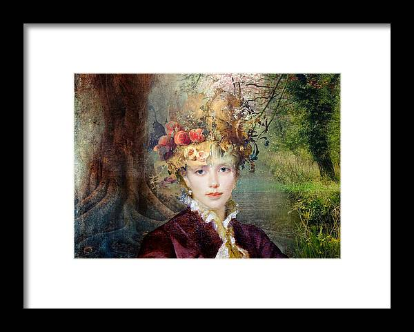 Women Framed Print featuring the painting Autumn's Hat by Laura Botsford