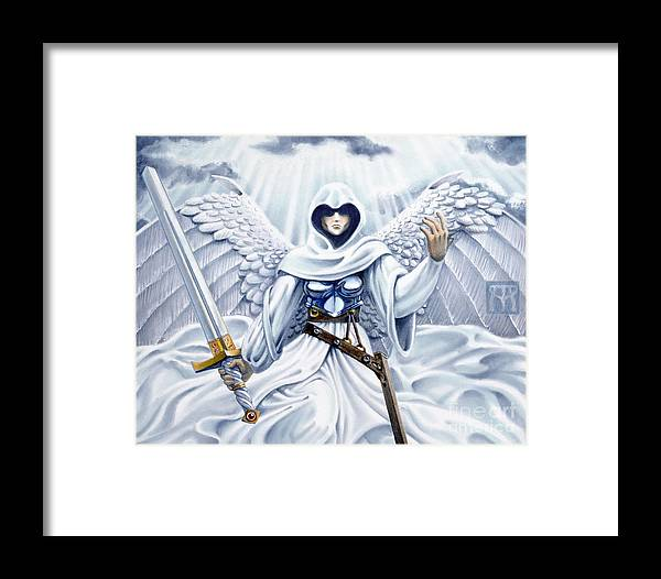 Angel Framed Print featuring the painting Avenging Angel by Melissa A Benson