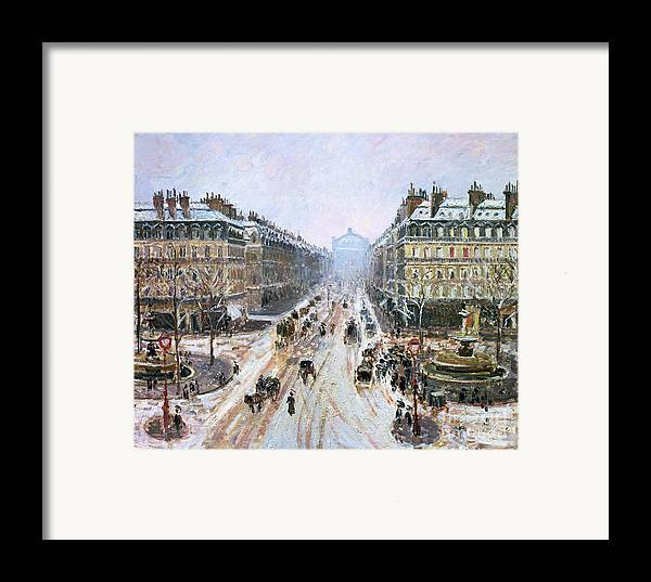 Avenue Framed Print featuring the painting Avenue De L'opera - Effect Of Snow by Camille Pissarro