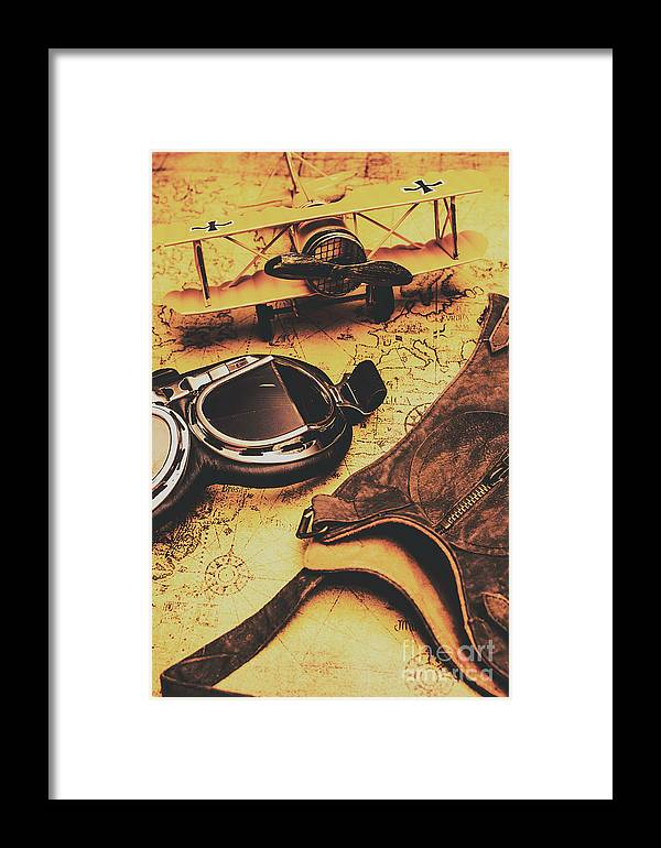 Aviator Goggles Cap And Airplane On Old World Map Framed Print By