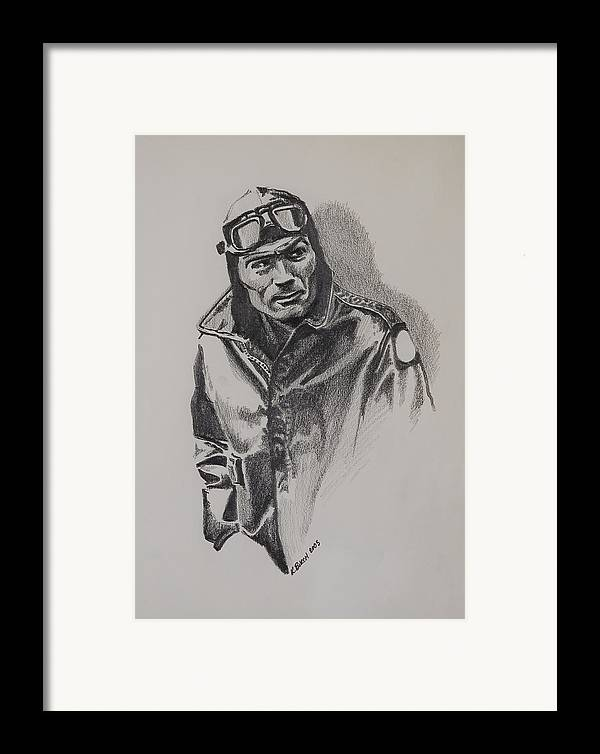 Aviation Framed Print featuring the drawing Aviator by Kerry Burch