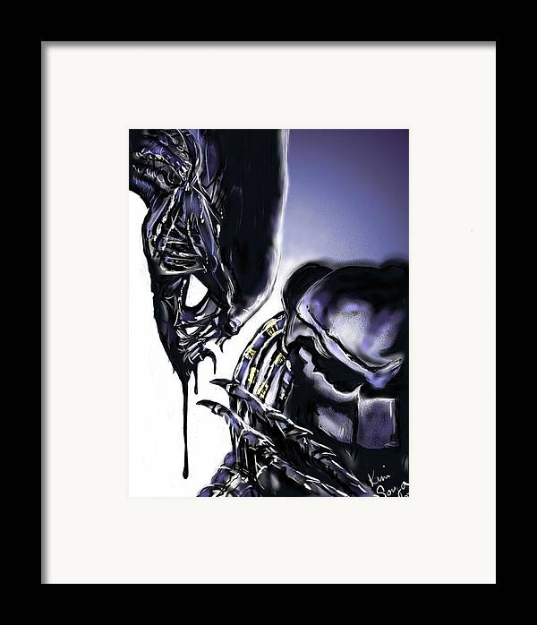 Alien Framed Print featuring the digital art AVP by Kim Souza