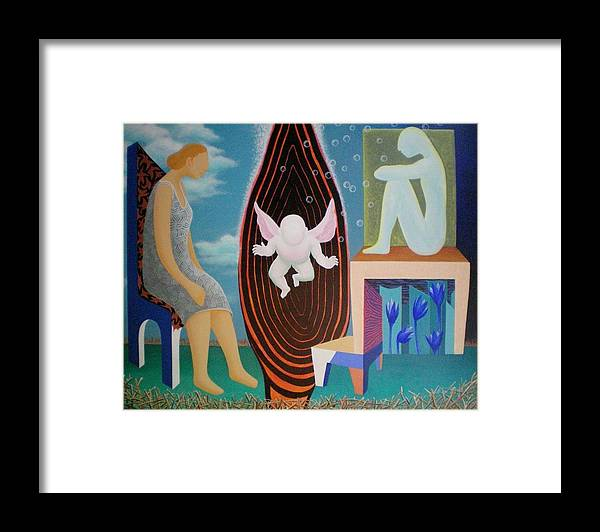 Figurative Framed Print featuring the painting Await by Raju Bose