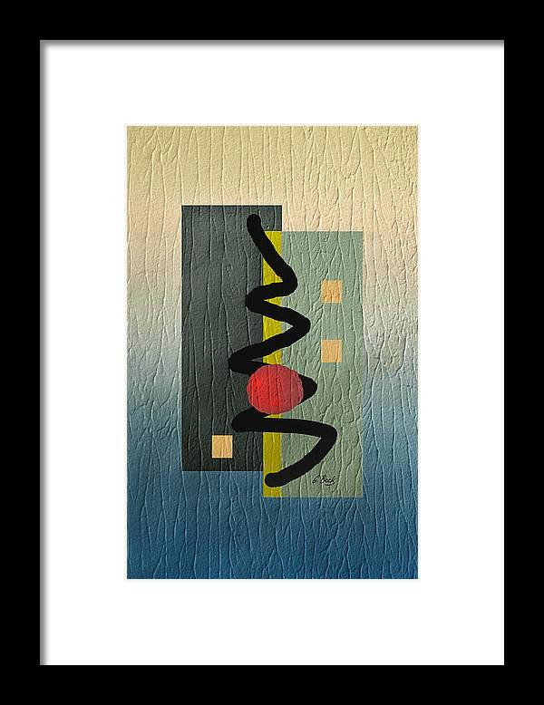 Red Ball Gradient Tones Blue Yellow Gray Energetic Geometric Abstract Textured Design Modern Contemporary Vibrant Colorful Urban Loft Decor Mood Elevation G. Framed Print featuring the digital art Awake by Gordon Beck