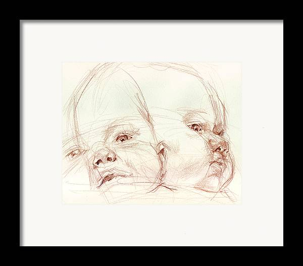 Portrait Framed Print featuring the drawing Awake by Sarah Madsen