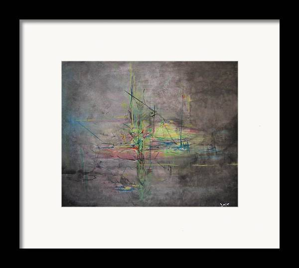 Abstract Framed Print featuring the painting Awakening Abstract 1 Black Background Bright Detail by Lizzy Forrester