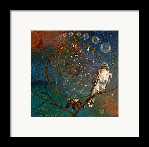 Red Tailed Hawk Framed Print featuring the painting Awakening Visionary Power by Sundara Fawn
