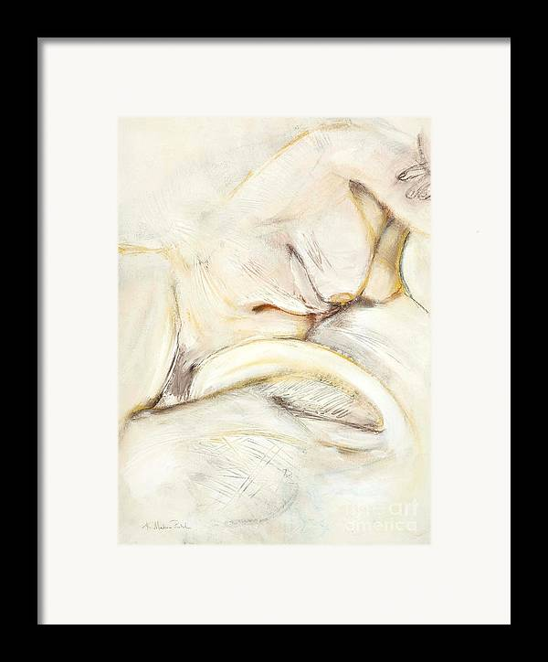 Female Framed Print featuring the drawing Award Winning Abstract Nude by Kerryn Madsen-Pietsch