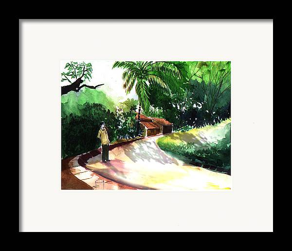 Water Color Watercolor Landscape Greenery Framed Print featuring the painting Awe by Anil Nene