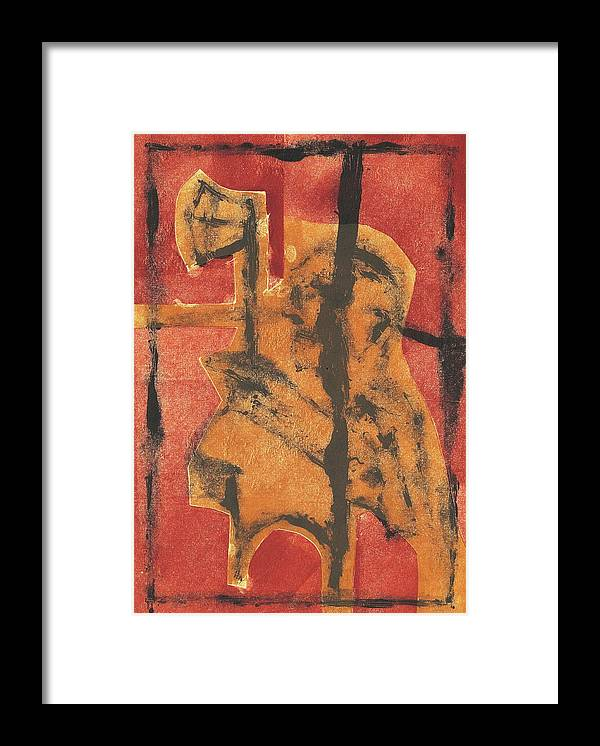 Axeman Framed Print featuring the relief Axeman 14 by Artist Dot