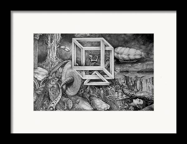 Drawing Framed Print featuring the drawing Axis Mundi by Otto Rapp