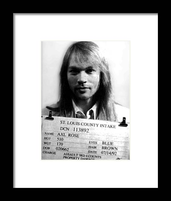 Axl Rose Framed Print featuring the painting Axl Rose Mug Shot 1992 Front Photo by Tony Rubino
