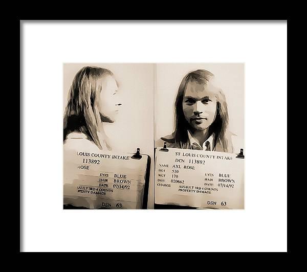 Axl Rose Mugshot Framed Print featuring the mixed media Axl Rose Mugshot by Dan Sproul