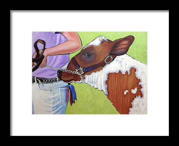 Ayrshire Heifer Framed Print featuring the painting Ayrshire Show Heifer by Ande Hall