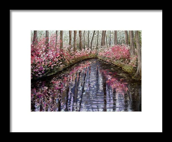 Landscape Framed Print featuring the painting Azalea River by Susan Jenkins