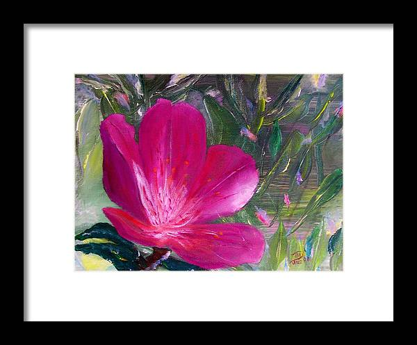 Flower Framed Print featuring the painting Azalea by Tony Rodriguez