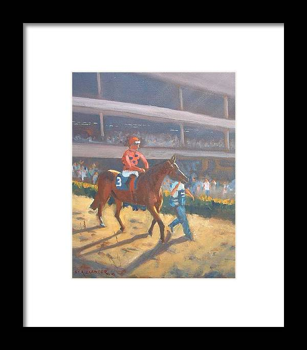 The Horses Are Approaching The Track For The Feature Race Of The Day...no. 3 Azari... Framed Print featuring the painting Azari A Sure Winner by Bryan Alexander
