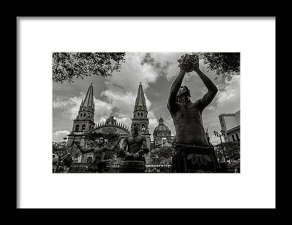 Aztec Dancers Framed Print featuring the photograph Aztec Dancers in Front of the Cathedral Guadalajara, Mexico by Dane Strom