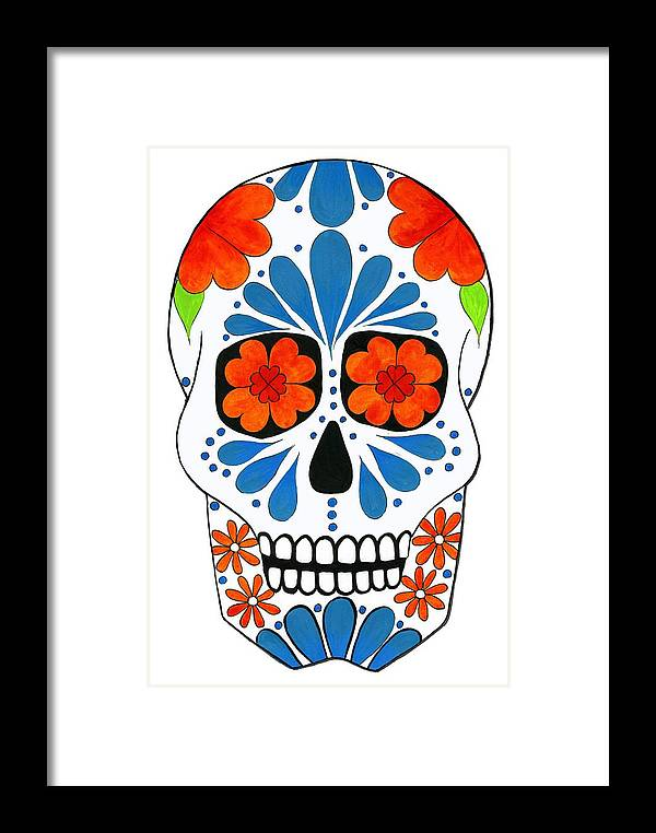 Aztec Framed Print featuring the painting Aztec Inspired Sugarskull by Purrnickerty Cat
