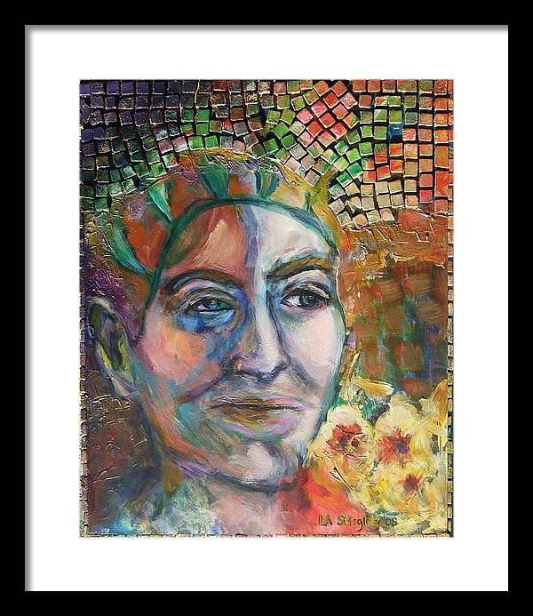 Aztec Framed Print featuring the mixed media Aztec Woman by Lee Anne Stieglitz