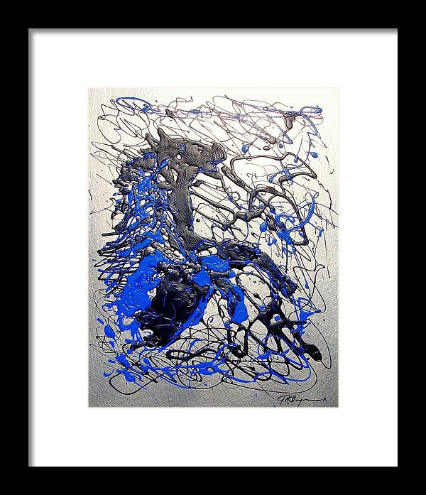 Abstract/impressionist Art Framed Print featuring the painting Azul Diablo by J R Seymour