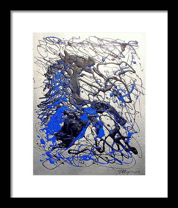 Stallion Horse Framed Print featuring the painting Azul Diablo by J R Seymour