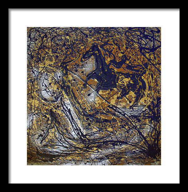 Abstract Framed Print featuring the painting Azul Diablo's Escape by J R Seymour