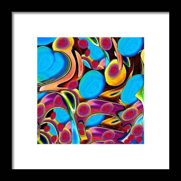 Abstract Framed Print featuring the mixed media Azure Heart With Eggs And Faces by Jacqueline Migell