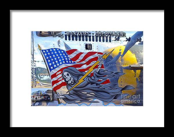 Arlington Framed Print featuring the photograph B-25 Pacific Prowler Nose Art by Larry Keahey