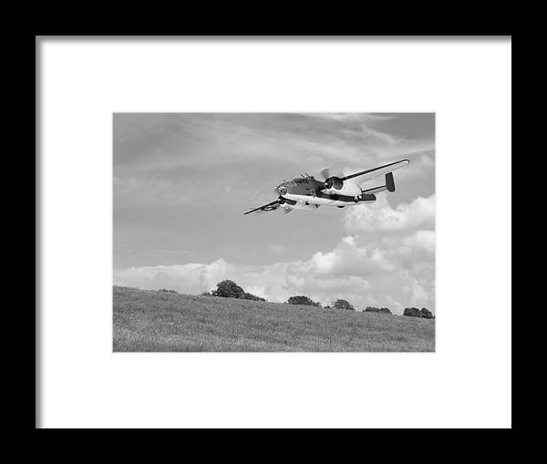 Aviation Framed Print featuring the photograph B-25 Warbird Returns - Black And White by Gill Billington