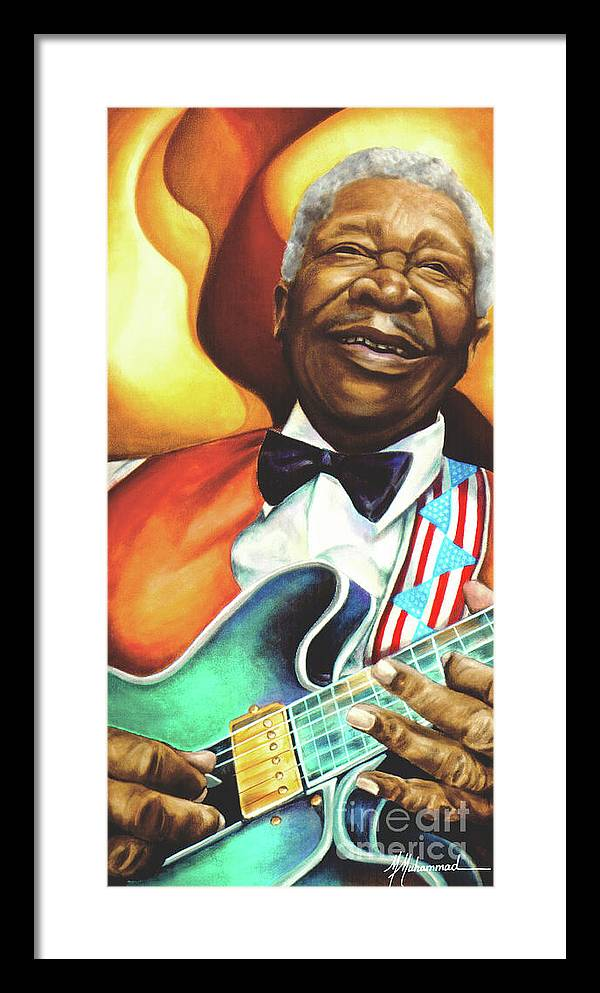 Musical Framed Print featuring the painting B. B. King by Marcella Muhammad