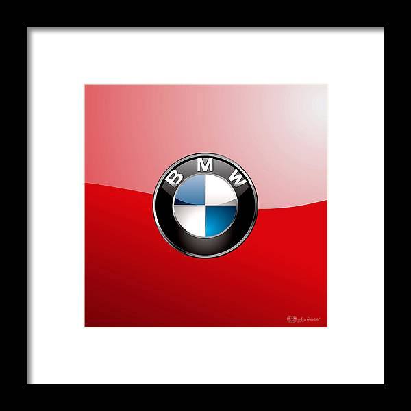 'auto Badges 3d' By Serge Averbukh Framed Print featuring the photograph B M W Badge On Red by Serge Averbukh