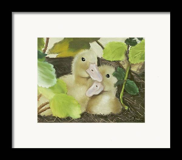 Ducks Framed Print featuring the painting Babies In The Berry Bush by Brenda Williams