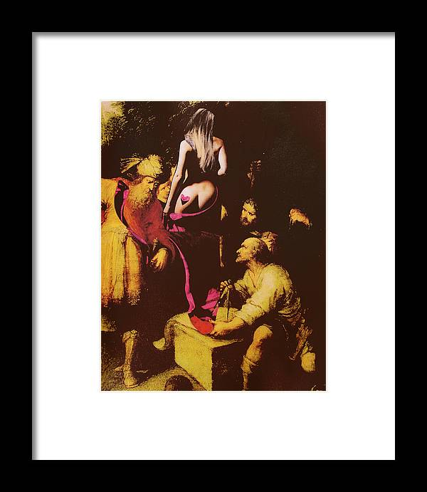 Nude Framed Print featuring the mixed media Babs In Babylon by Walter Clark