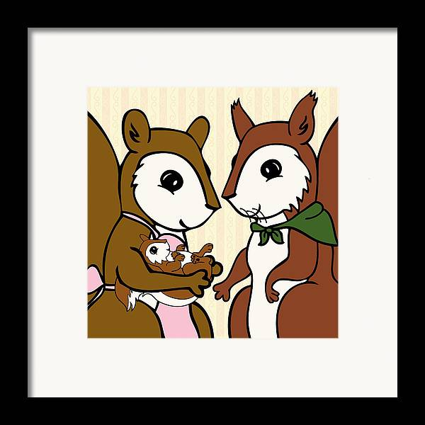 Squirrel Framed Print featuring the digital art Baby Acorn by Christy Beckwith